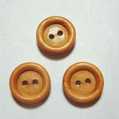 "SET OF 3 VINTAGE 1960's WOOD 5/8"" ROUND 2-HOLE SEWING BUTTONS"