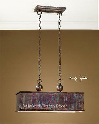 French Tuscan Farmhouse Distressed Kitchen Island Chandelier Light Fixture