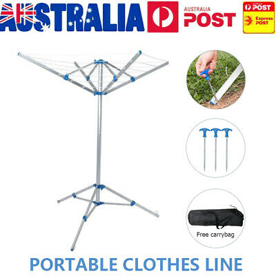 Portable Clothes Rack Tripod Airer Camping Dryer Foldable Folding Clothesline AU