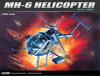 Academy 12260 1/48 Plstic Model Kit MH-6 Stealth Helicopter NEW