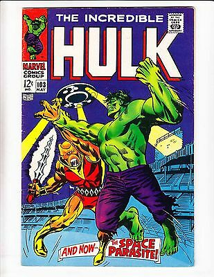 Incredible Hulk #103 FN- silver age - marvel comics - space parasite - 1968