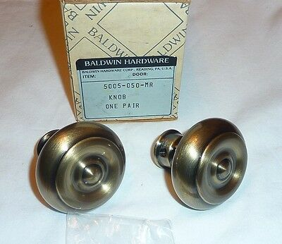 Baldwin 5005-050-MR Brass Classic Estate Knob Pair SATIN BLACK & BRASS