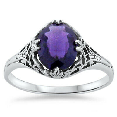 Antique Art Deco Design Lab Amethyst 925 Sterling Silver Ring Size 5,    #246