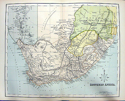 Antique 1876 Engraving MAP OF SOUTHERN AFRICA Detailed Cape Town Johannesburg