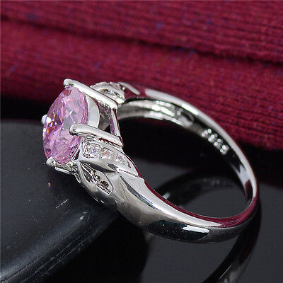 Fashion Woman Noble Jewelry Pink Cubic Zirconia Lady's Wedding Ring Size 6-10