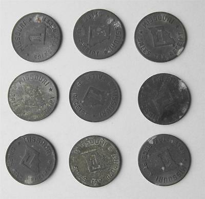 LOT of 9 Old Antique Missouri Retail State Sales Tax Tokens Coin MO