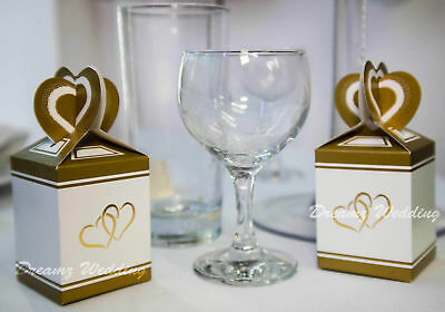 50 Gold Wedding Favour Favor Sweet Cake Gift Candy Boxes Bags Anniversary Party
