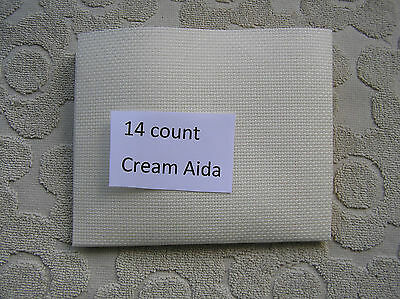 A Piece of Cream 14 count Cross Stitch Fabric 12  by 12 inches,(30x30 cms)