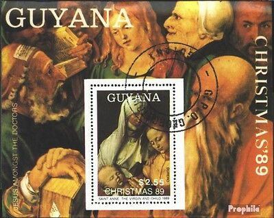 Guyana block74 (complete issue) used 1989 christmas ´89: Painti