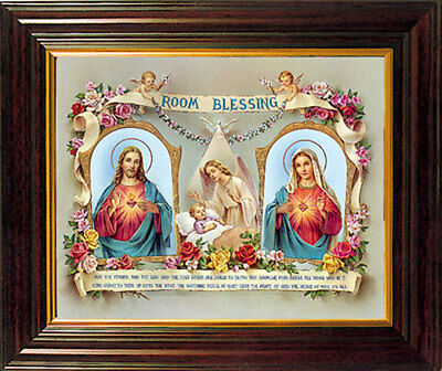 Sacred Heart Of Jesus Room Blessing Framed Picture - Statues Candles Also Listed