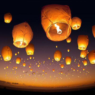 Lot 5 White Paper Chinese Lanterns Sky Fire Fly Candle Lamp Wishing Wedding