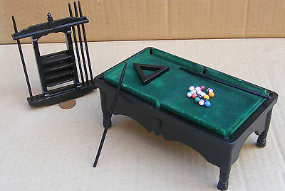 1:12 Scale Black Pool Table With Balls & Cues Tumdee Dolls House Pub Snooker 984