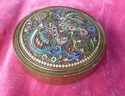 Gorgeous Pavel Ovchinnikov Imperial Russian Enamel Sterling Silver Box Marked 88