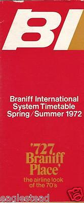 Airline Timetable - Braniff International - Spring Summer 1972