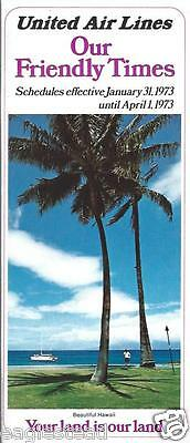 Airline Timetable - United - 31/01/73 - Hawaii Palm Tree cover