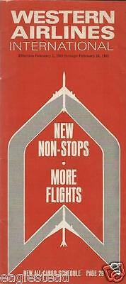 Airline Timetable - Western Airlines International - 01/02/69