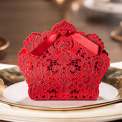 Personalized Laser Cut Wedding Favours Sweets Party Gift Candy Boxes with Ribbon