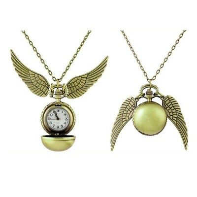 HOT Harry Potter Snitch Watch Pendant Necklace Steampunk Quidditch Wings Clock