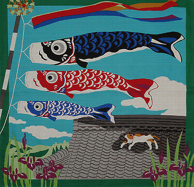 Furoshiki Japanese Fabric Cloth 'Kotaro the Cat and Koinobori Carp' Cotton 50cm