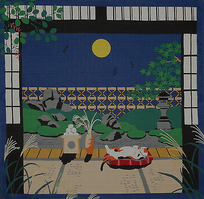Furoshiki Japanese Fabric Cloth Kotaro the Cat and Autumn Full Moon Cotton 50cm