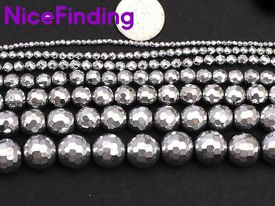"""Round Sliver Faceted Hematite Stone Beads For Jewellery Making Loose Beads 15"""""""