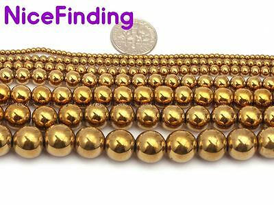 """Round Gold Hematite Loose Stone Beads For Jewellery Making 15"""" DIY Free Shipping"""