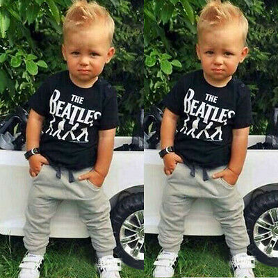 Baby Kids Boys Children The BeatlesT-shirt Tops+Jeans Pants Suit Clothes 2-6Y