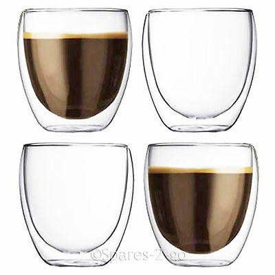 Double Walled Coffee Glasses Thermal Tumblers Cappuccino Espresso 4 Glass Cups