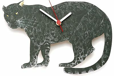 Panther Leopard Wooden Wall Clock Made in UK Ideal Wildlife Gift Present