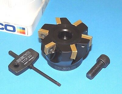 "NEW SECO 2.50"" Square Shoulder Milling Cutter w/ Inserts (R220.99-02.50-12-6T)"