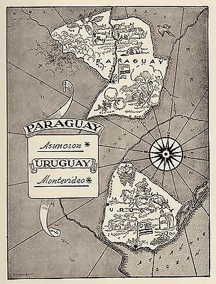 1950s Vintage PARAGUAY & URUGUAY Map Print Pictorial Map Picture Map  NEAT! 1899