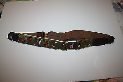 Vintage Boy Scouts Official Steerhide Brown Leather Belt #517 Sz-30 and 9 loops