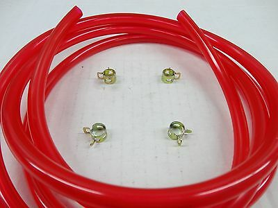 "Red 1/4"" Fuel Line Kit Snowmobile Dirt Bike Quad Motorcycle Go Kart Golf Cart"
