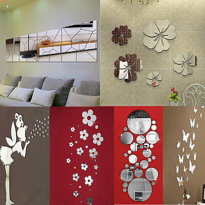 Removable Mirror Decal Art Mural Wall Stickers Home Decor DIY Room Decoration