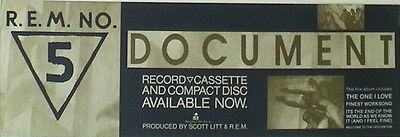 """R.e.m. """"document - The One I Love"""" U.s. Promo Poster / Banner"""