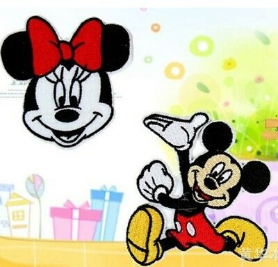 FD817 Embroidery Cloth Iron On Patch Sew Motif Applique Sweet Cartoon Mouse 2PC$