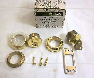 Baldwin 8021.030 Low Profile Deadbolt Double Cylinder POLISHED BRASS NEW!!