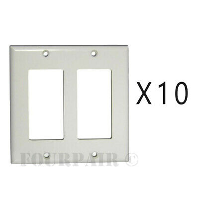 10 Pcs Pack Lot - Decora Style Flush Wall Face Plate Double 2 Gang GFCI - White