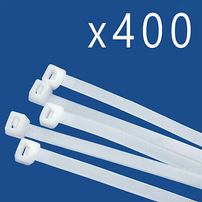 """400 Pack Lot Pcs Qty - 6"""" Inch Nylon Cable Zip Wire Tie 40 lbs - Natural White"""