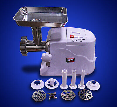New MTN 2400W Power Electric Meat Grinder Sausage Stuffer Free Tubes Metal Gear