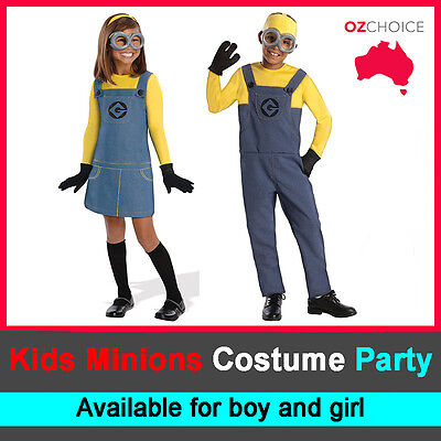Boy Girl Minion Kids Costume Despicable Me Fancy Party Dress Up Halloween