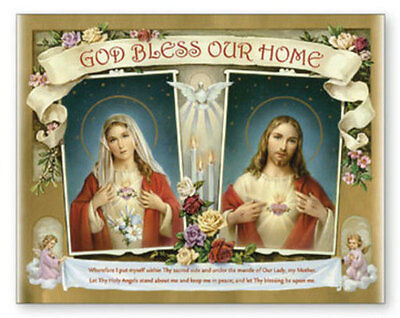 Large Sacred Heart Of Jesus Home Blessing Canvas Picture Candles Statues Listed
