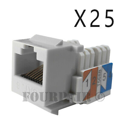 25x Pack Lot CAT6 Network RJ45 Port 110 Punch Down Keystone Snap-In Jack White
