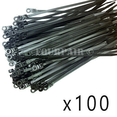 """100 Pcs Lot - 8"""" UV Mount Head Screw Nail Hole Cable Zip Wire Tie 50 lbs - Black"""