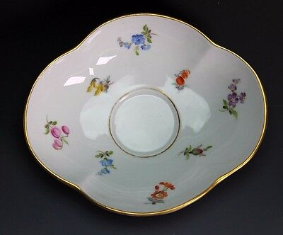 Meissen Porcelain Scattered Flowers Quatrefoil China Saucer