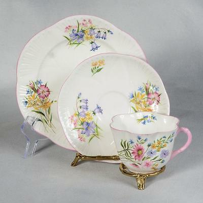 """Shelley Trio """"wild Flowers"""" - White /pink Trim Decorated With Wild Flowers"""
