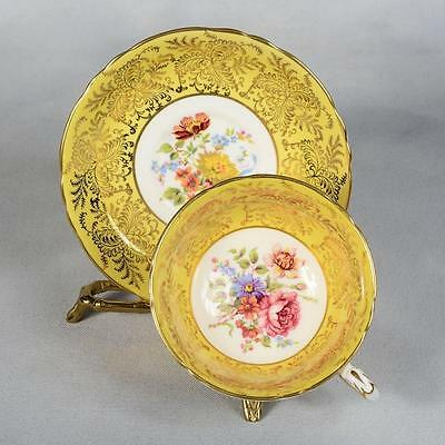 Paragon Teacup & Saucer - White/yellow With Gold Fern Design & Floral Centre