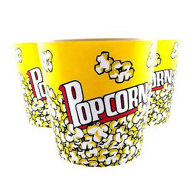 Plastic Popcorn Tub Container Snacks Movie Box Bow Theater Style Reusable Bucket