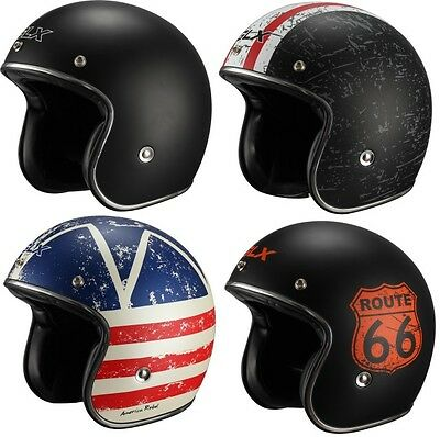 GLX Open Face Scooter Motorcycle Helmet 3/4 Style Retro Vintage DOT [Fiberglass]