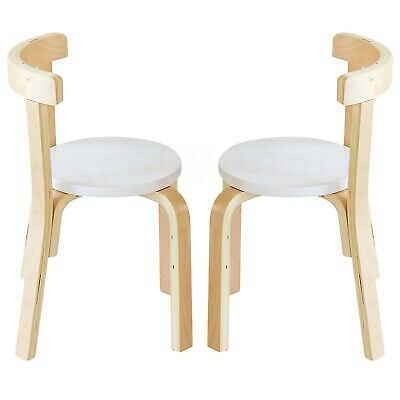 Childrens Wooden Chair Kids Chair - White (Set of 2 Chairs)